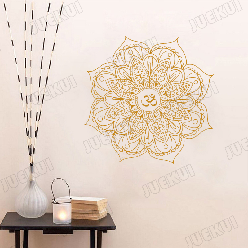 Removable Wallpaper Mandala Pattern Beauty Stickers For Living Room Yoga Background Art Decoration Vinyl Poster Murals L784 Wall Stickers Aliexpress