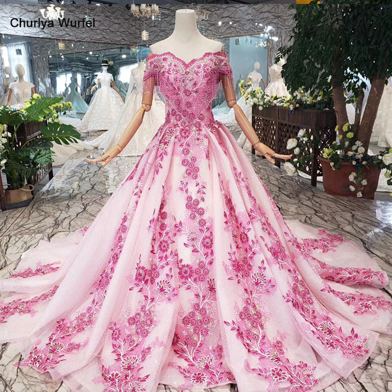 A-line pink   evening     dress   2019 flowers off the shoulder beaded tassel lace up back lace   evening   formal   dresses   for women LS20478
