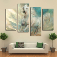 2016 top fashion 5 4 home decorative hang Wall Art Picture Printed white galloping horses oil Painting on Canvas livingroom deco
