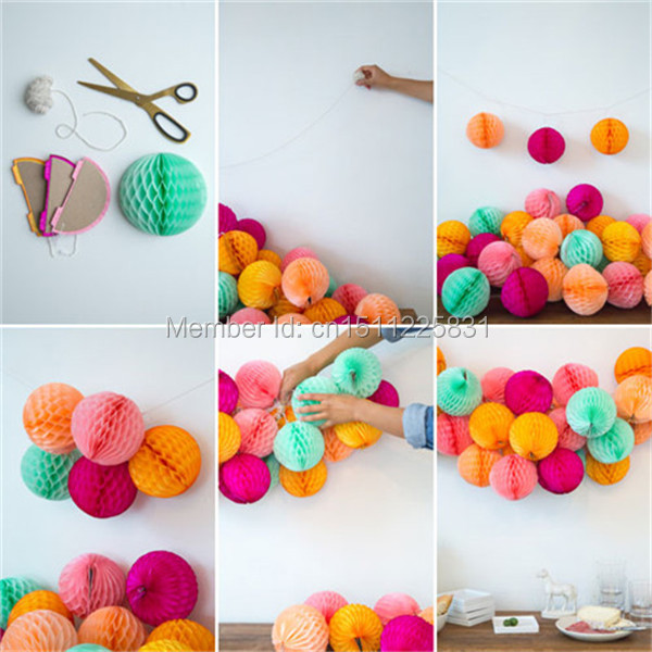 "Honeycomb Ball Decorations Fascinating 14"" 35Cm Tissue Paper Honeycomb Balls Party Hanging Decoration Design Decoration"