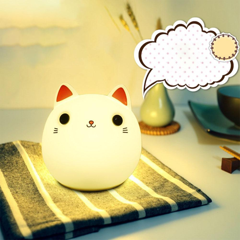 LumiParty Cartoon Cat Night Lamp Silicone Pat Light Color Changing Bed USB Charging Light Home Office Decoration Gift