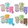 2015 A Estrenar Ropa de Recién Nacido Establece Monos Pantalones Camisetas Calcetines del Zapato de bebé Baberos de Bebé monos trajes traje tops toallas pp pant