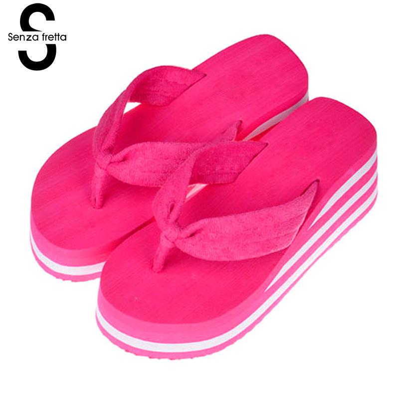Senza Fretta Summer Women Shoes Flip Flops Beach Sandals Flip Flops Casual Slippers Women High Heel Shoes Wedges Flip Flops free shipping candy color women garden shoes breathable women beach shoes hsa21