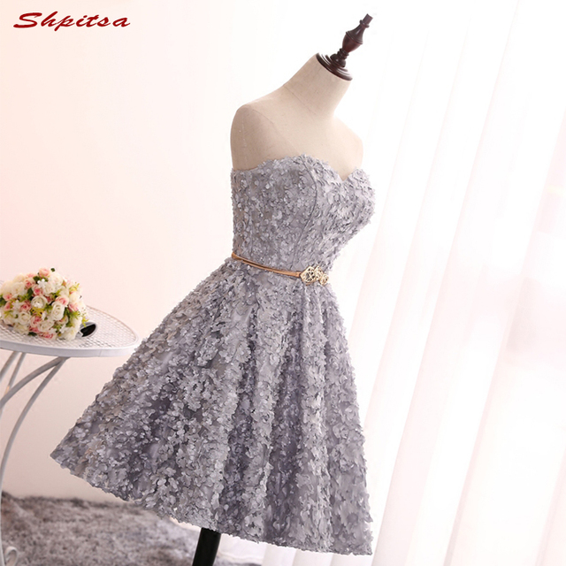 Grey Short Lace Homecoming Dresses Cute Party Prom Dresses Modest 8th Grade  Graduation Formal Dresses ad7f32abc