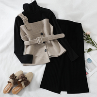 2018 new fashion women's two piece set autumn and winter high collar woolen top + knit skirt two piece