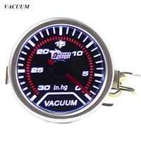 Pointer 2 52mm Car Universal Smoke Len LED Vacuum Gauge Meter In Hg Free Shipping