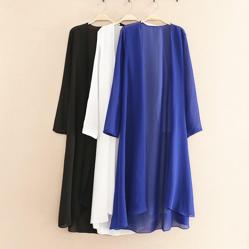 2019 Spring Summer Style Plus Size Women's Long Coat Black Thin Chiffon Cardigan Tops Casual Long Suncreen Blouse Shirt