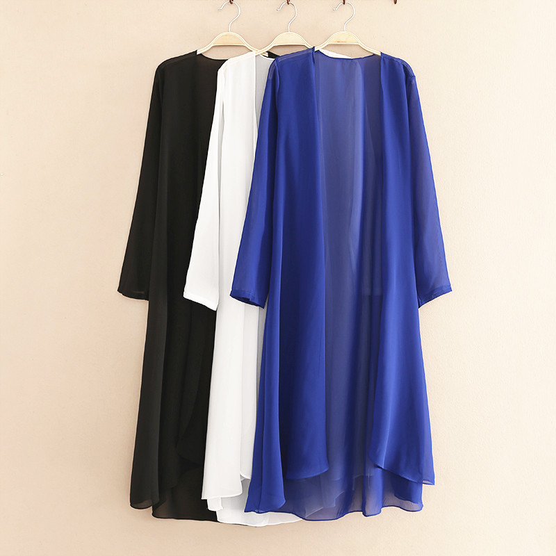 Cardigan Women 2019 Spring Summer Style Plus Size Long Coat Black Thin Chiffon Cardigan Tops Casual Loose Suncreen Blouse Shirt