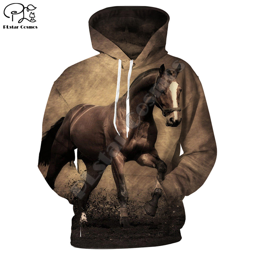 New 3D sweatshirt Hoodies Men Horse Colorful 3D Print Long Sleeve Fashion Hipster Hoodie Loose Streetwear Pullovers Top MA019