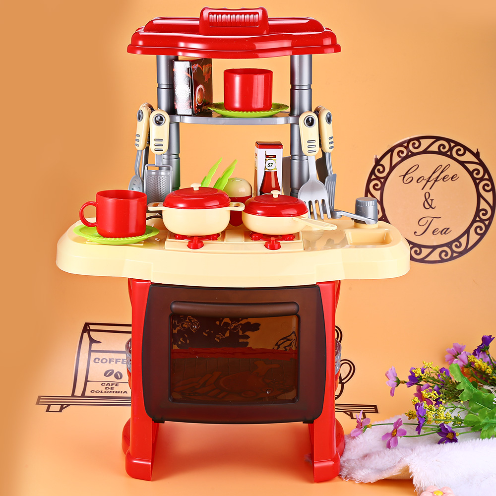 Baby Miniature Kitchen Plastic Pretend Play Food Children Toys With Music Light Kids Kitchen Cooking Set Toy For Girls Games Hot baby toys