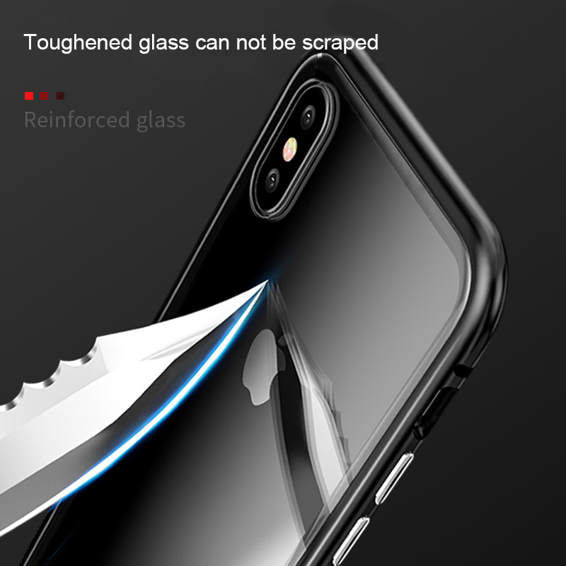 new luxury magnetic bumper phone case and mobile phone tempered glass back cover casing