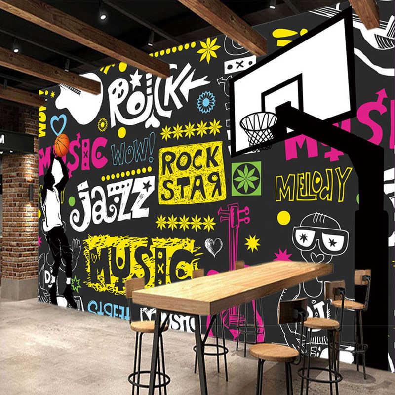Пользовательские 3D плакат стены Бумага простой современного уличного Граффити Аннотация Картины Ресторан КТВ Бар Декор в гостиную стены Бумага Книги по искусству