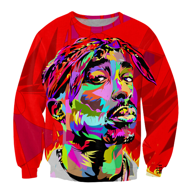 2018 NEW FASHION MEN AND WOMEN The colorful Tupac red 3D Print Sweat shirts Pullovers Tracksuit Streetwear Loose Thin Hoody Tops