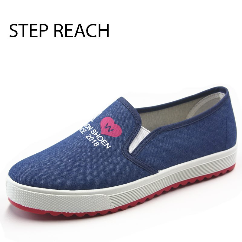 STEPREACH Brand shoes woman women canvas Flats loafers slip on comfortable sapato feminino zapatos mujer scarpe donna adult rubb flat shoes woman slip on loafers pointed toe breathable fur women shoes 2018 zapatos mujer casual ladies shoes sapato feminino
