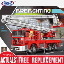 New XINGBAO 03029 City Toys Series The Elevating Fire Truck Set Building Blocks Bricks Toys Car Model Birthday Christmas Gifts lepin 02102 city series the mining experts site set with dump truck 60188 building blocks bricks funny toys model kids gifts