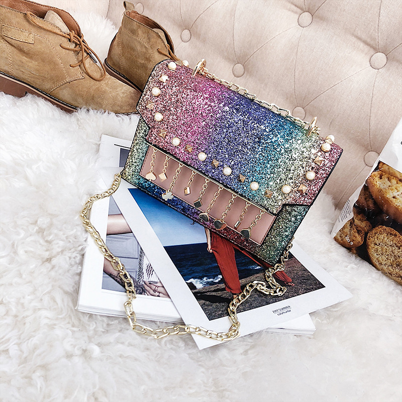 ABDB Korean Version of the New Fashion Sequins Hit Organ Small Package Wild Casual Shoulder Messenger Messenger Bag