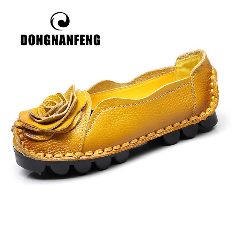 DONGNANFENG Women Flats Mother Female Ladies Shoes Loafers Cow Genuine Leather Flower Slip On Soft Ethnic 35-42 ANSL-8003