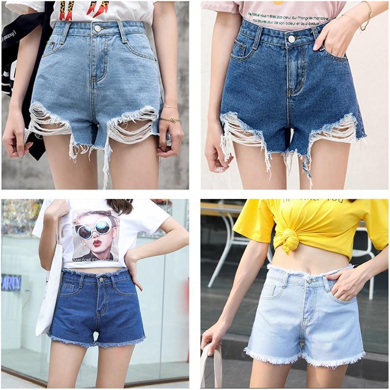 Blue Crimping Denim Jeans Shorts For Women 9