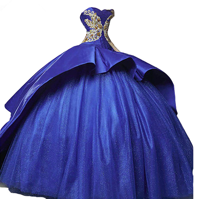 2019 Royal Blue Sweetheart Ball Gown Quinceanera Dresses with Appliques Satin Sweet 16 Dresses Vestidos De 16 Party Gowns Q38