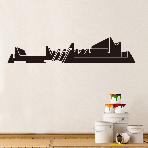 Auditorium and convention centre zaragoza skyline globe earth country wall vinyl sticker custom made home decoration