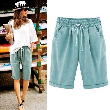 2018 Summer Woman Cotton linen harem pants Plus size Lady Casual Short Trousers candy Color Khaki black red blue pink M-6XL 3