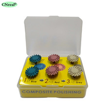 6 pieces/set Dental Polishing Discs Finishing Wheels Composite Resin Kit Spiral Flex Brush Burs