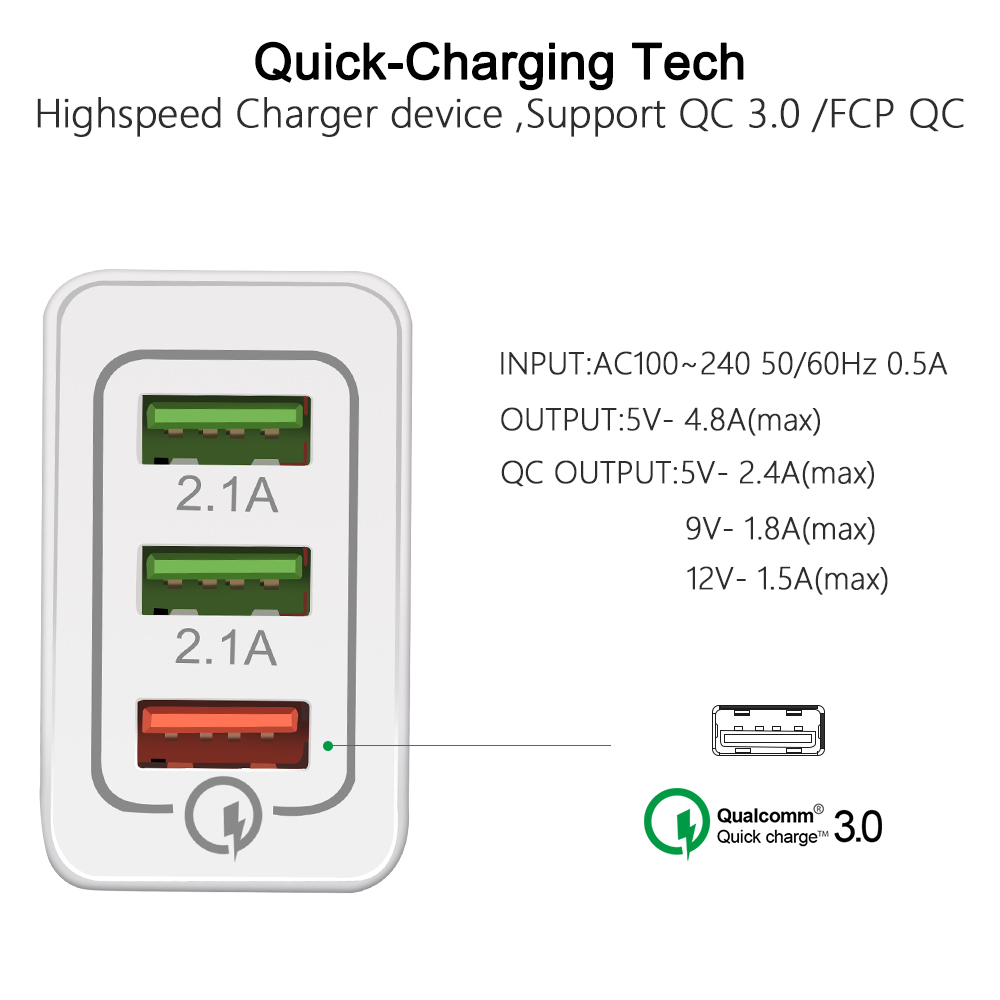 quick charge 3.0 wireless fast charging adapter with micro type c usb support