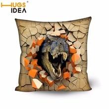 HUGSIDEA Dinosaurio 3D Imprimir Cojín Decorativo de La Cubierta de Asiento Del Sofá Fundas de Colchón de Alta Calidad Silla De Algodón Cuadrados Fundas de Almohada