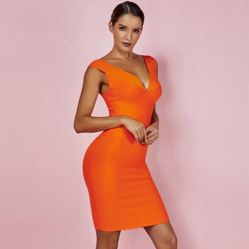 Ocstrade Sexy Dress Club Wear Summer Party Dress 2019 New Arrival Orange Deep v Neck Women Bandage Dress Bodycon Sleeveless XL