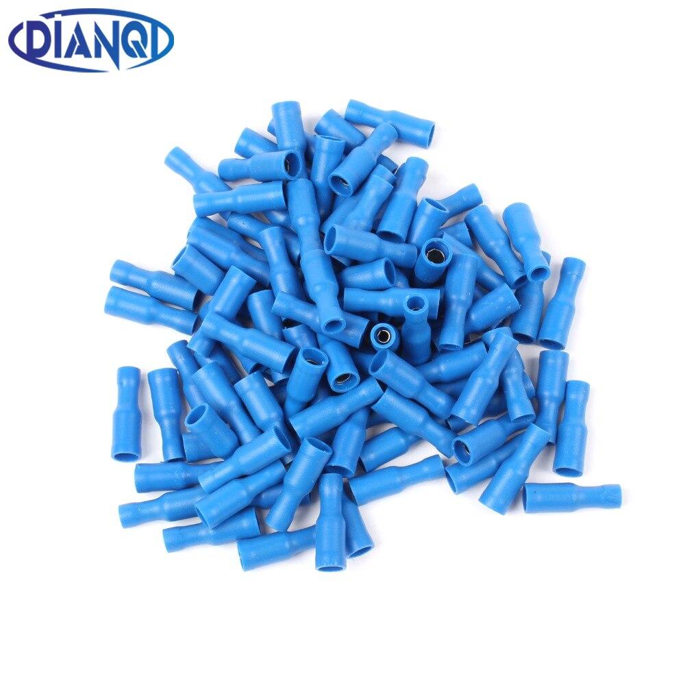 20x Azul aislados Recto Conector de tope Eléctrico terminales de crimpeado Para Cable