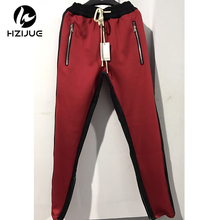 HZIJUE 2018 Men Side stripe bottom zipper drawstring sweatpants high streetwear jogger elastic waist track pants for men