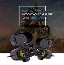 Zeepin Motorcycle Cigarette Lighter Dual USB Charger Voltmeter Time Display Waterproof with Cigarette Lighter Socket