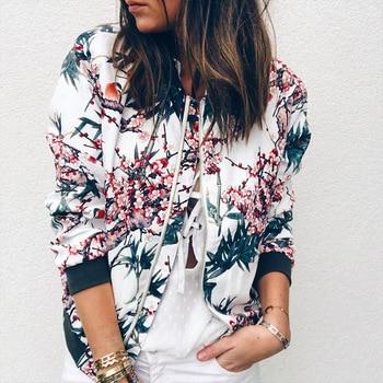 Wanita Floral Cetak Jaket Bomber Lengan Panjang Wanita Musim Semi Musim Gugur Mantel Wanita Vintage Ritsleting Etnis Jaket Mantel Dasar 2018