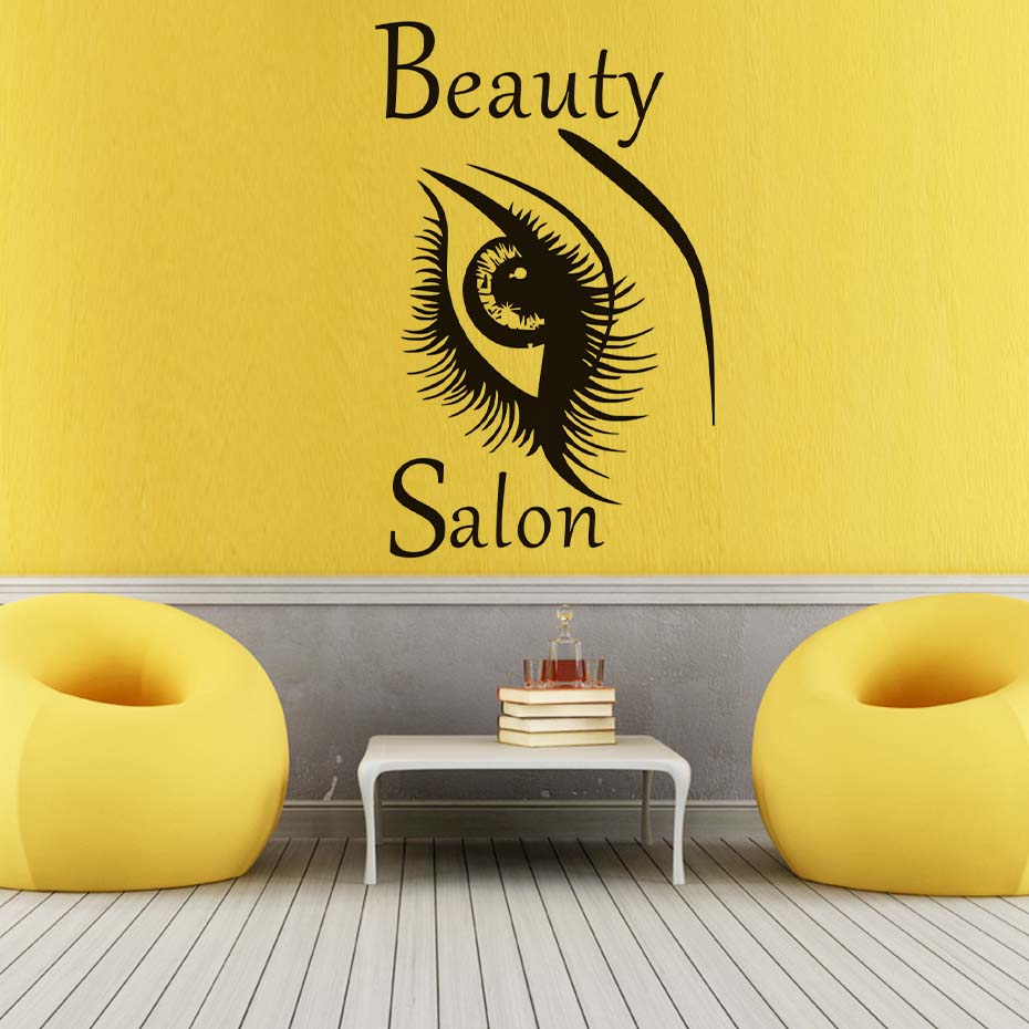 Fashionable Beautiful Big Eye Wall Sticker Beauty Woman Eyebrow ...