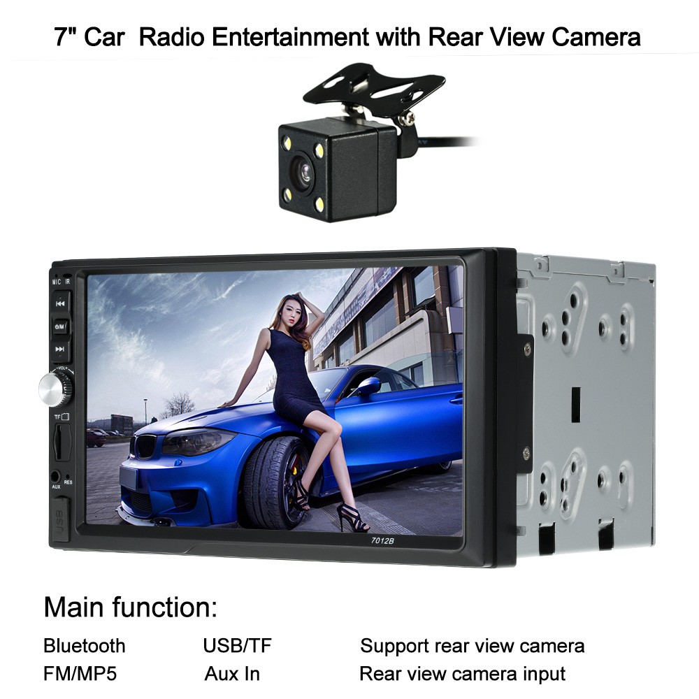 kkmoon 7 Car Multimedia Radio Player Stereo FM DVD MP5 Audio BT/USB/AUX/TF Auto Electronics In-Dash video with Rear View Camera 4022d car radio mp4 player with rear view camera 4 1 inch car mp3 mp5 player bluetooth fm transmitter stereo audio for music