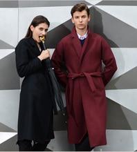 Шерсть Мужская Мода Сверхдальние Шерстяное Пальто Зима Британский Стиль Бизнесмен Шерстяные Пальто Casaco Masculino A1502