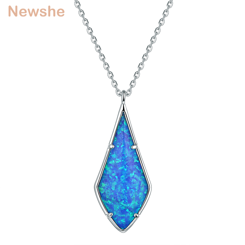 Newshe Blue Color Rhomboid Shape Rhinestone Pendant 925 Sterling Silver White & Rose Gold Color 18 Inches Necklace For Women chic rhinestone african plate shape pendant necklace and earrings for women
