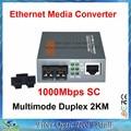 Fibra Óptica Conversor de Mídia Gigabit 1000 Mbps Porta de Multi-Modo Duplex SC 2 KM fonte de Alimentação Externa