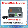 Gigabit Multimodo Dúplex de Fibra Óptica Media Converter 1000 Mbps Puerto 2 KM SC fuente de Alimentación Externa