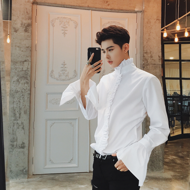 Mens Gothic Shirt Black And White Ruffle Designer Shirt Spring Mens Casual Shirt Camisa Fashion Masculina Solid Wedding Gothic