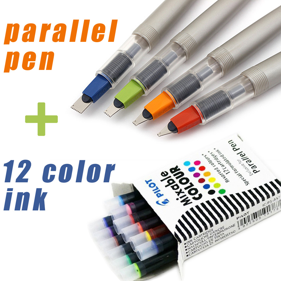 pilot parallel pen art fountain Gothic Arabic calligraphy with 12 color ink cartridges 1.5 2.4 3.8 6.0mm  FREEshipping