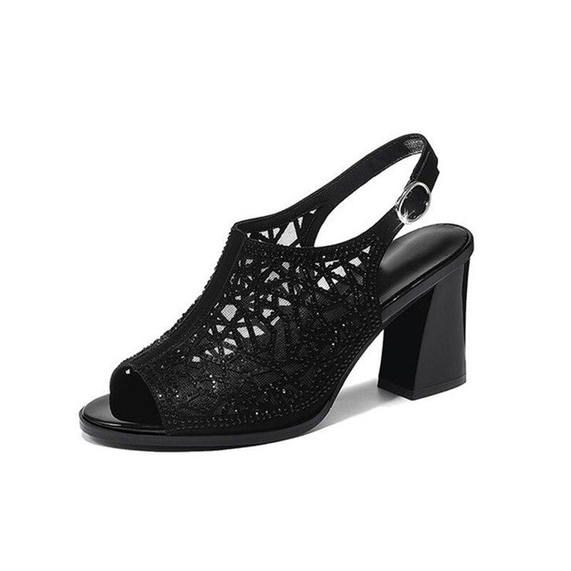 Femmes chaussures d'été Comforty plate-forme sandales Sexy maille Ventilation Piscine bouche chaussures élégant couleur Pure sandales à talons hauts - 3