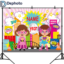 цена DePhoto Super Hero City Party Baby girl birthday Photography Backgrounds Customized Photographic Backdrops For Photo Studio