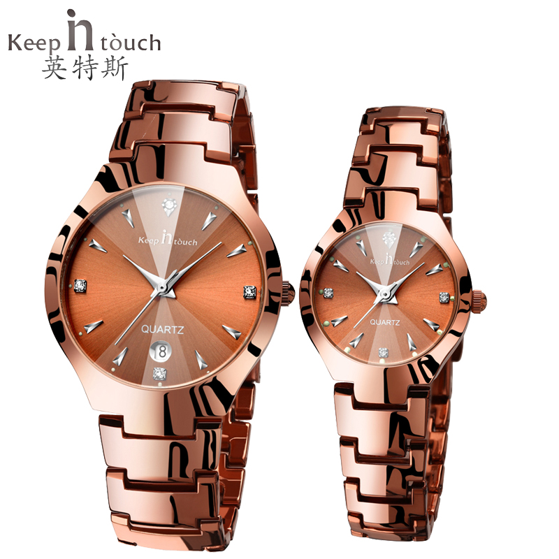Keep in touch Lovers Watch Luminescent Calendar Couple Watches for Lovers Coffee Golden Watch Men and Women in Pair with box popular black skull sports watch silicone bands touch screen led watch women mens free shipping gitt for lovers couple