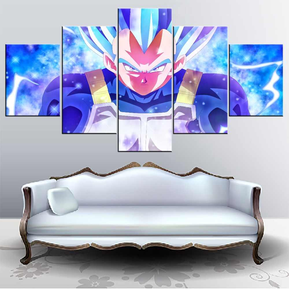 Canvas Painting Modern Wall Art Home Decorative Bedroom 5 Pieces Anime Dragon Ball Super Vegeta Pictures HD Prints Type Style