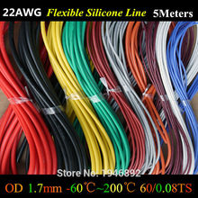 5 м/лот-22 AWG Гибкая силиконовая Провода rc кабель 22AWG 60/0. 08TS внешний Диаметр 1.7 мм с 10 Цвета выбрать