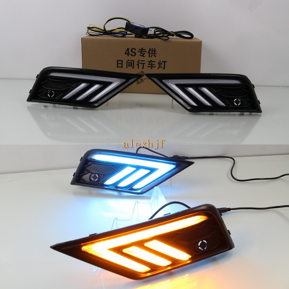 July King LED White Daytime Running Lights + Yellow Turn Signals Light + Ice Blue Night DRL Case for Volkswagen Tiguan L 2017+ лонгслив printio ice king x batman