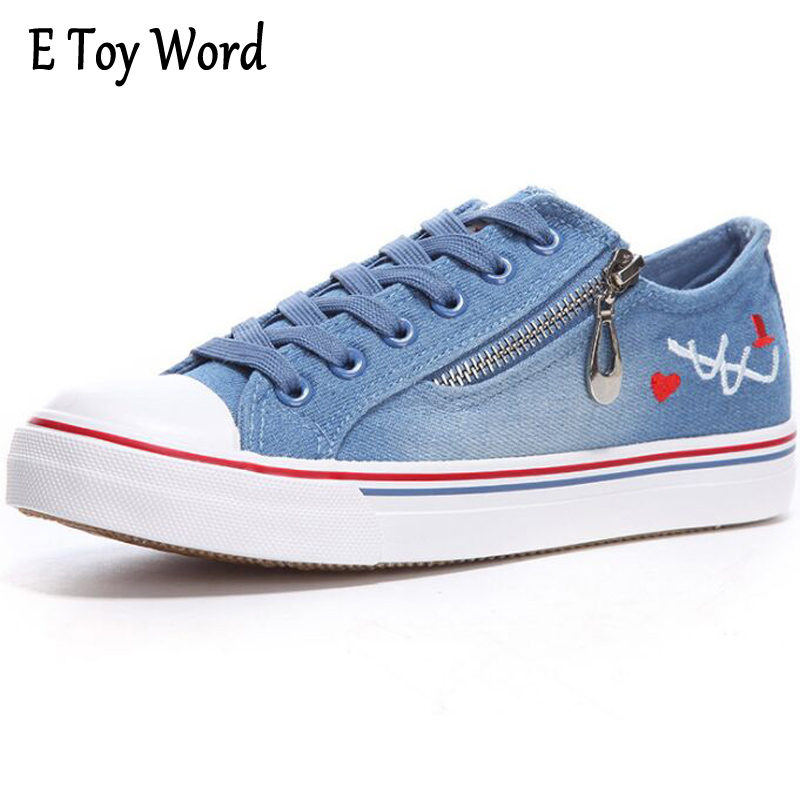 E TOY WORD Spring Casual Shoes Women Lace-Up Denim Shoes Flat Low To Help Female Breathable Canvas Shoes Woman sapatilhas mulher e toy word canvas shoes women han edition 2017 spring cowboy increased thick soles casual shoes female side zip jeans blue 35 40