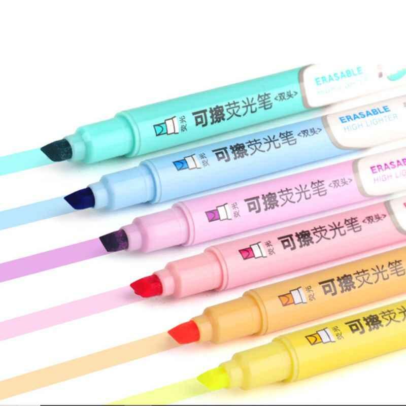 6pcs Double Head Marker Erasable Highlighter ปากกาพาสเทล Liquid Chalk Fluorescent ดินสอเขียนเครื่องเขียนโรงเรียนอุปกรณ์ C26