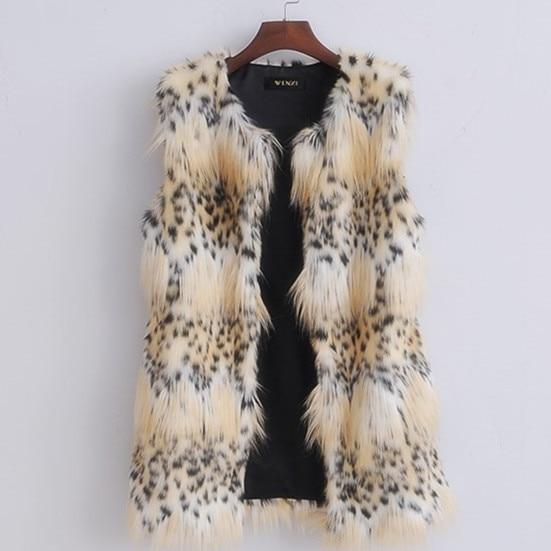 2015 Europe designer leopard dots sleeveless women vest Faux fox fur waistcoat winter coats and jackets plus size S-XXL CH561